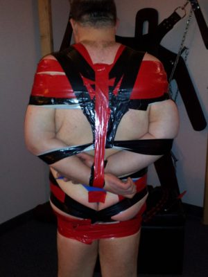 The same duct tape dress viewed from behind.