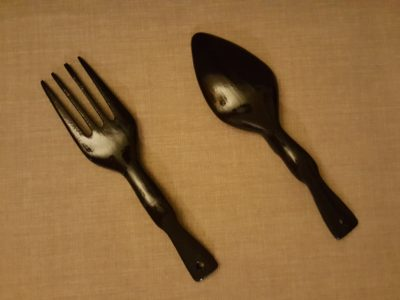 Wooden fork and spoon, sanded and refinished