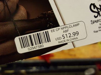 """Nipple clamps"" at Spencer's (the price)"