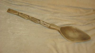 The same spoon after a sanding session